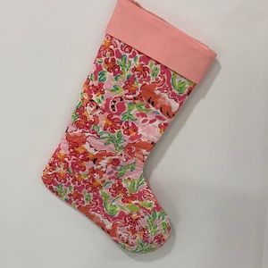 Lilly Pulitzer Stocking with Pink Border/Lining